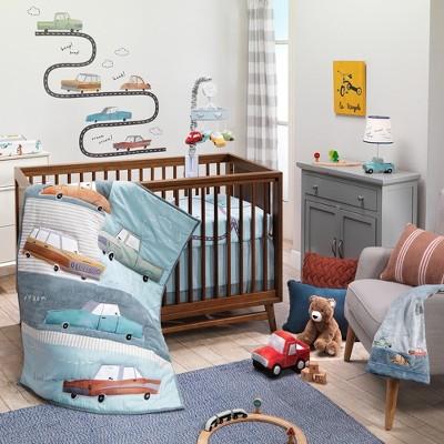 Lambs & Ivy Baby Car Tunes 4-Piece Nursery Crib Bedding Set - Blue