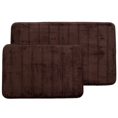 Stripe Memory Foam Striped Bath Mat Set 2pc Chocolate - Yorkshire Home
