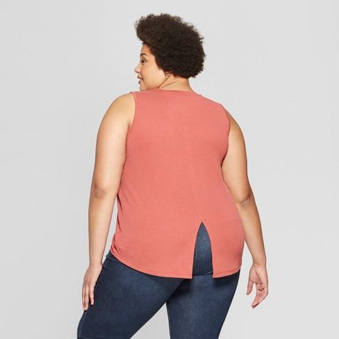 fdada2c989e99 Women s Plus Size Crew Neck Tank Top With Back Slit - Ava   Viv™   Target