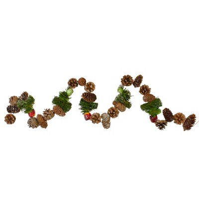 "Northlight 5' x 5"" Unlit Red Berries, Fruit and Pine Artificial Christmas Garland"