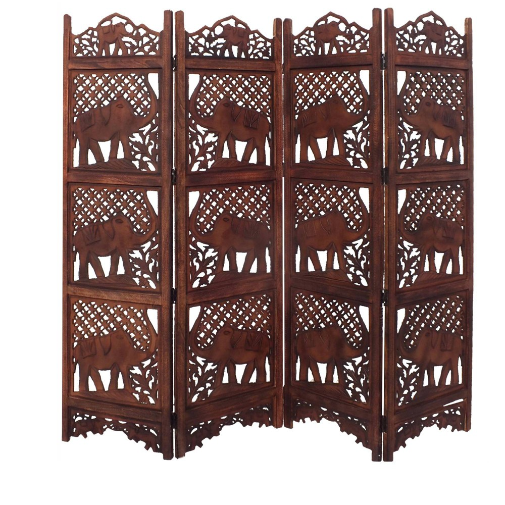 Hand Carved Elephant Design Foldable 4 Panel Wooden Room Divider Chocolate (Brown) - Benzara