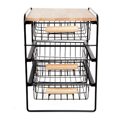 Origami Wood Top Steel Kitchen Organizer 3 Tier Basket Sliding Drawer, Black by Origami