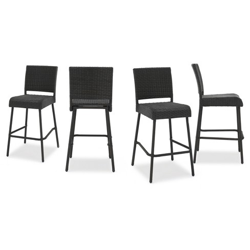 "Neal 4pk All-Weather Wicker 29"" Patio Barstools - Dark Brown - Christopher Knight Home - image 1 of 4"