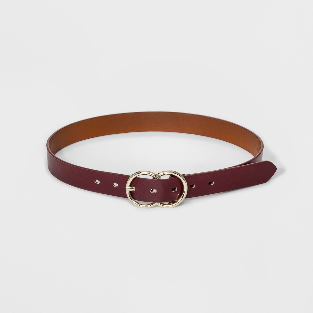 Women's Double Round Buckle Belt - A New Day Burgundy S, Red