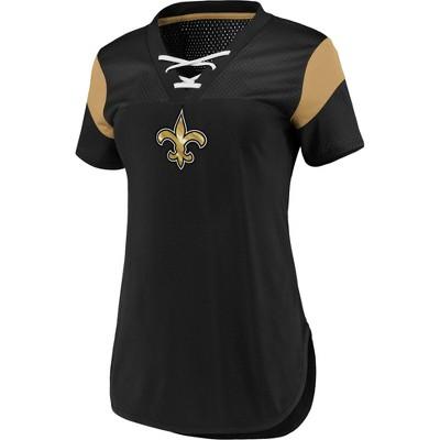NFL New Orleans Saints Women's Short Sleeve Lace-Up V-Neck Fashion Top