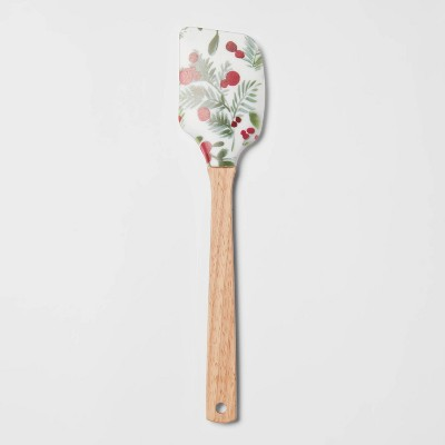 Silicone Holly Berry Spatula with Wood Handle White - Threshold™