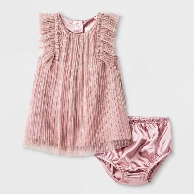 Baby Girls' Pleated Lurex Dress - Cat & Jack™ Pink 6-9M