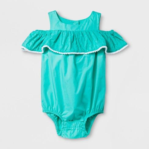 84761959a Baby Girls' Romper - Cat & Jack™ Iridescent Green 6-9M : Target