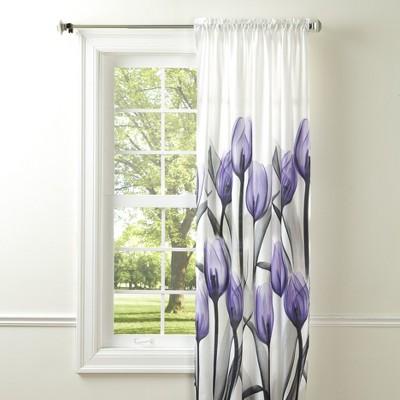"Lakeside Lakeside Purple Tulip Window Panel - Floral Window Accent - 42""W x 84""L"