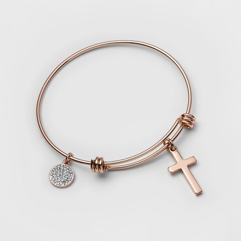 "Stainless Steel Faith hope love Bangle Bracelet (8"") - Rose Gold - image 1 of 1"