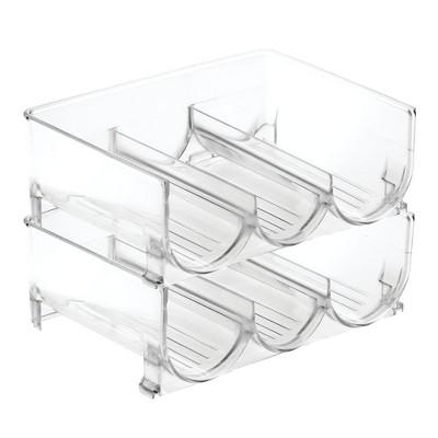 mDesign Plastic Water Bottle Storage Organizer, 2 Pack - Clear