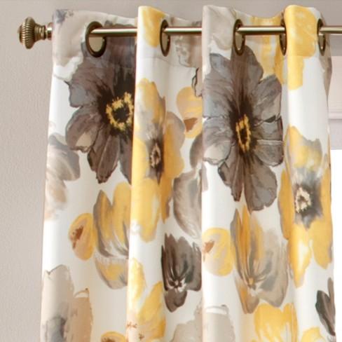 Leah Curtain Panels Room Darkening Set Of 2 Yellowgray Target