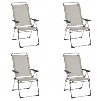 Lafuma Alu Cham Folding, Adjustable 5-Position Reclining Outdoor Mesh Sling Chair for Camping, Beach, Backyard, and Patio, Seigle Gray (Set of 4)