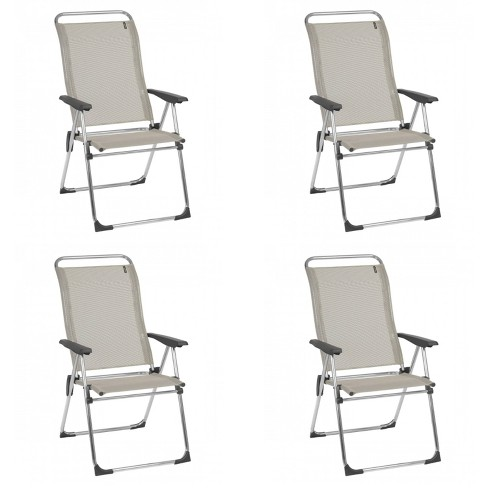 Lafuma Alu Cham Folding, Adjustable 5-Position Reclining Outdoor Mesh Sling Chair for Camping, Beach, Backyard, and Patio, Seigle Gray (Set of 4) - image 1 of 4