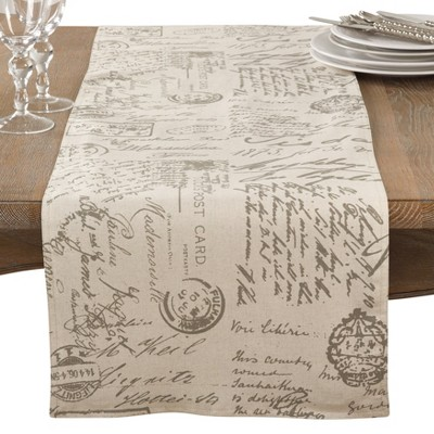 Neutral Letters Table Runner - Saro Lifestyle