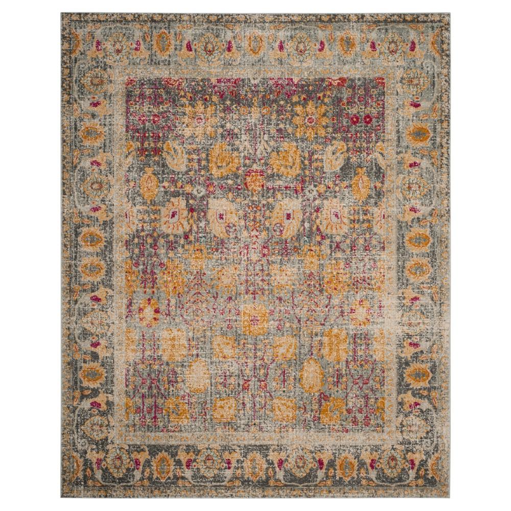 Floral Loomed Area Rug 8'X10' - Safavieh, Light Gray/Multi