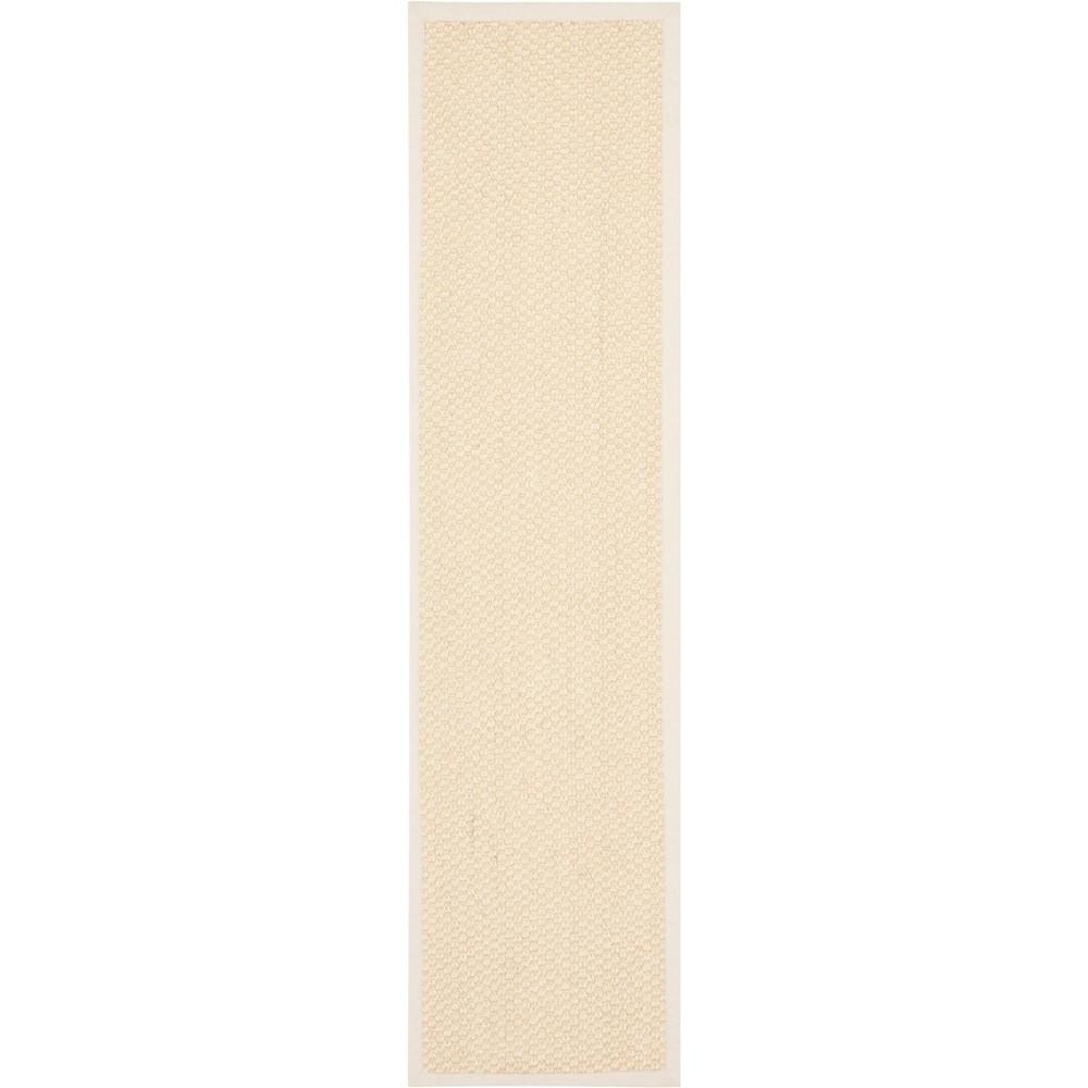 2'6X10' Solid Loomed Runner Cream/Light Gray (Ivory/Light Gray) - Safavieh