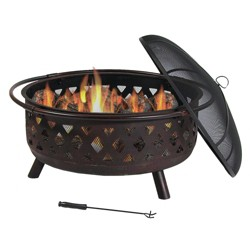 "Bronze Crossweave 36"" Wood-Burning Fire Pit Bowl - Round - Sunnydaze Decor"