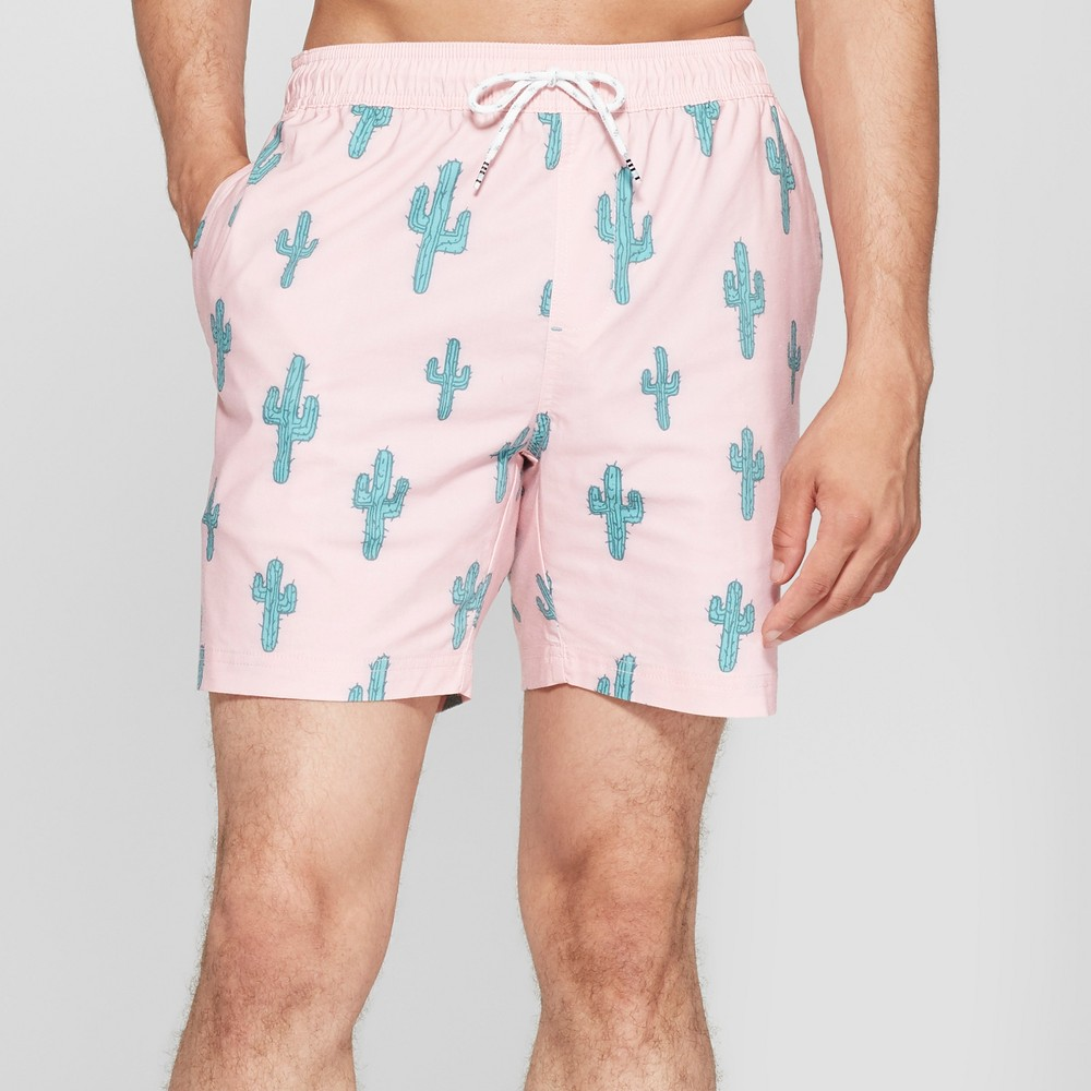 Trinity Collective Men's Cactus Print 7 Waist Board Shorts - Pink S