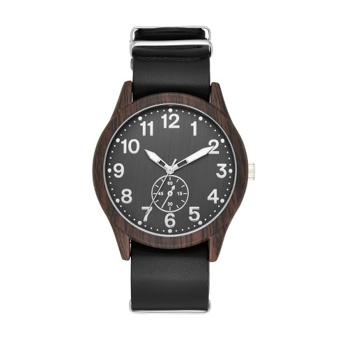 Men's Wood Finish Field Strap Watch - Goodfellow & Co™ Black - image 1 of 1
