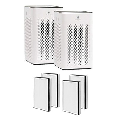 Medify Air MA-25-W2 Medical Grade HEPA Table Top Air Purifier, White (2 Pack) and MA-25R-2 Air Purifier 3 in 1 Replacement Filter Set (2 Pair)