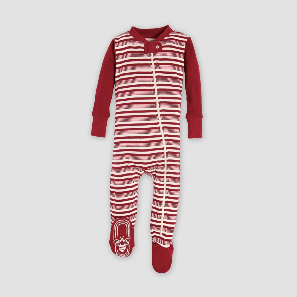 Burt's Bees Baby Holiday Organic Cotton Snowflake Footed Sleeper - Ivory 0-3M, Infant Unisex, Red