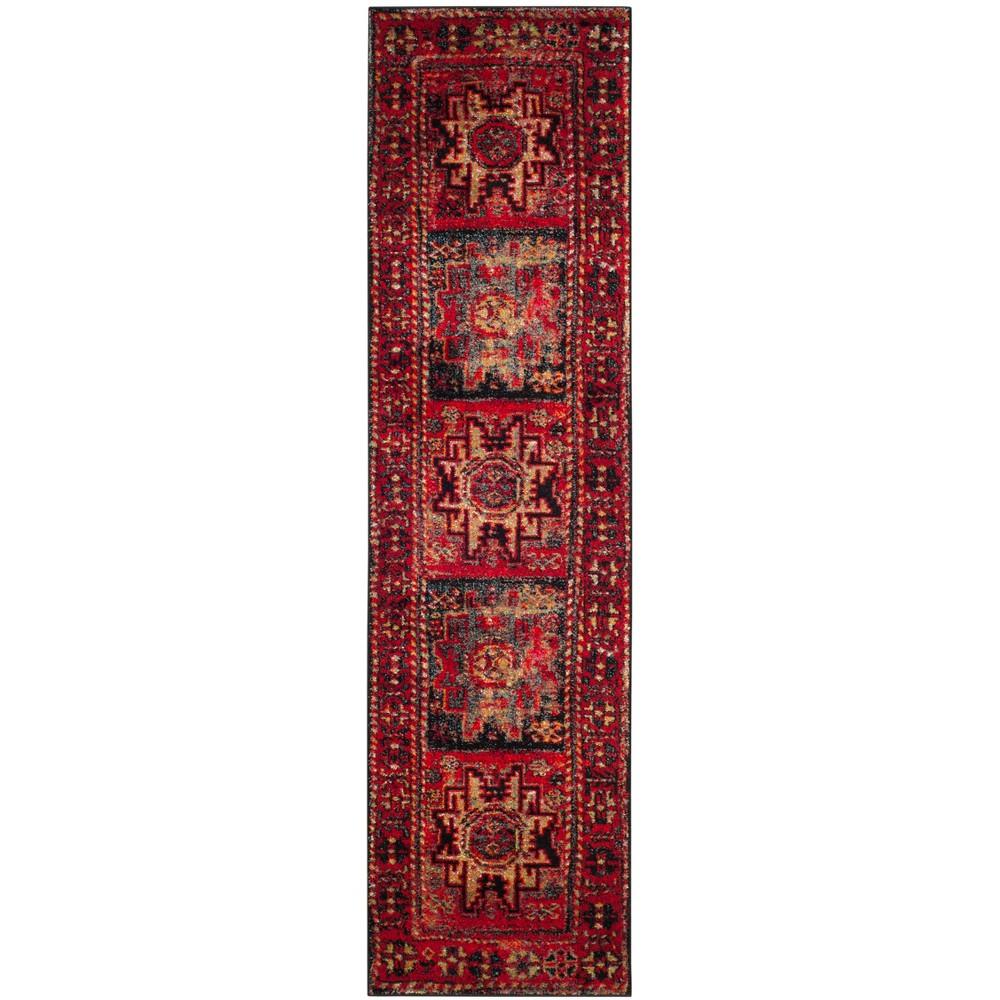 Loomed Tribal Design Runner Rug Red