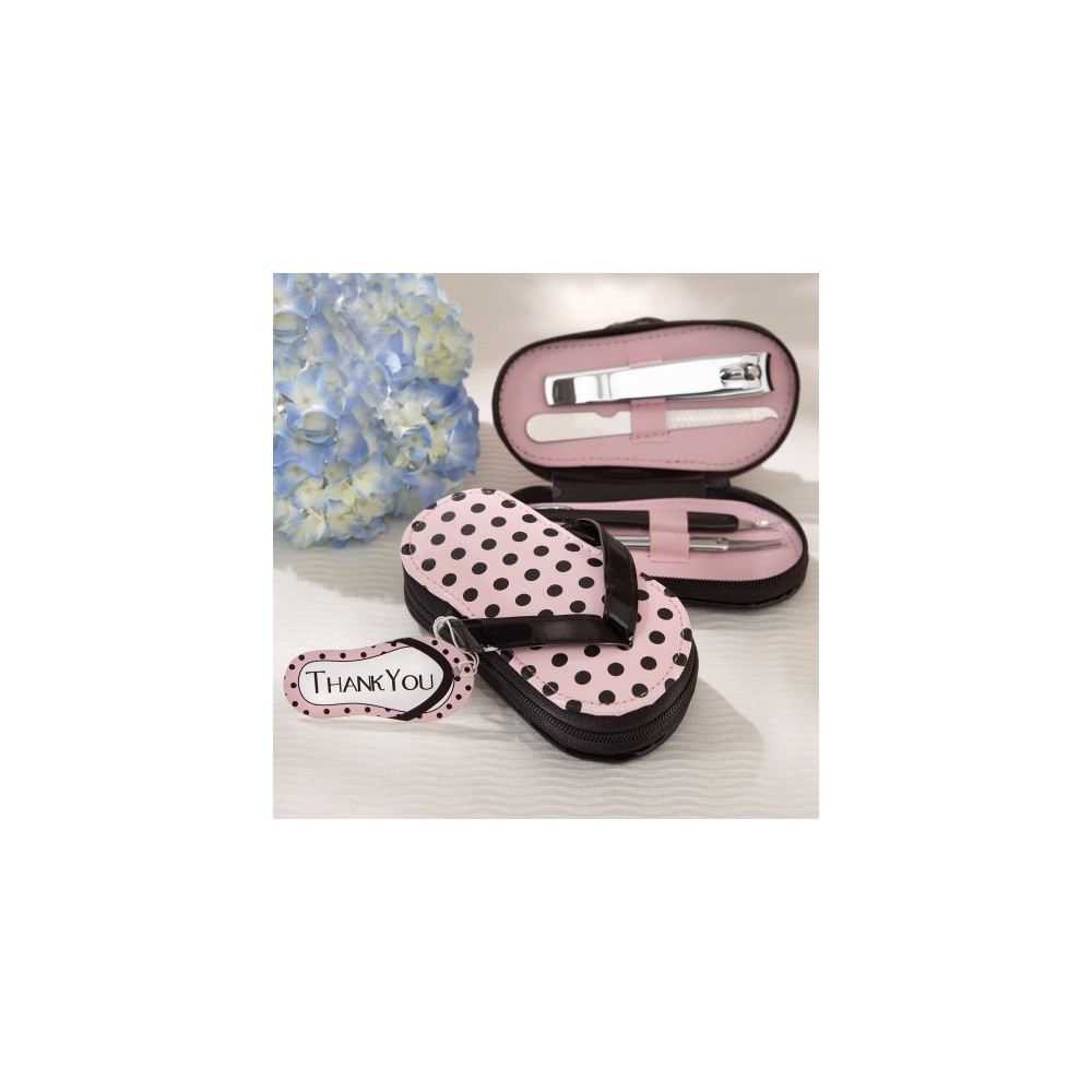 6ct Kate Aspen Pink Polka Flip Flop Pedicure Set
