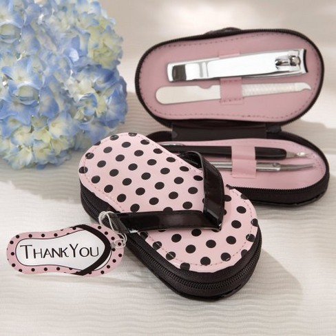 6ct Kate Aspen Pink Polka Flip Flop Pedicure Set - image 1 of 1