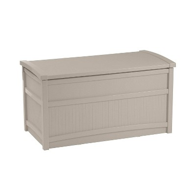 Suncast Horizontal 50 Gallon Stay Dry Resin Outdoor Deck Storage Box with Seat