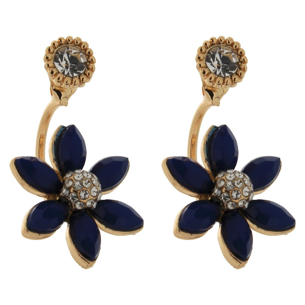 Women's Front Back Earring with Stones - Gold/Blue