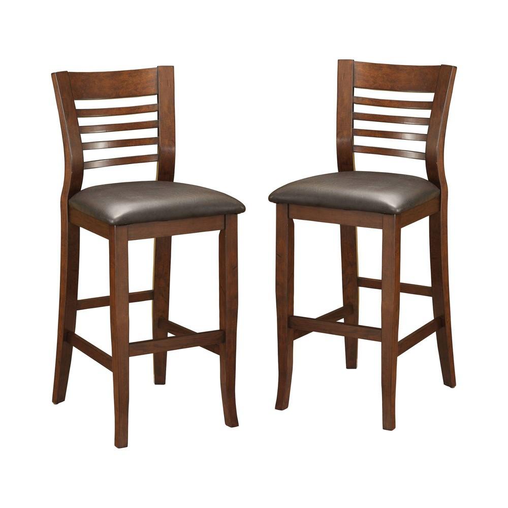 Set of 2 Craig II Simple Transitional Bar Chair Brown Cherry - miBasics