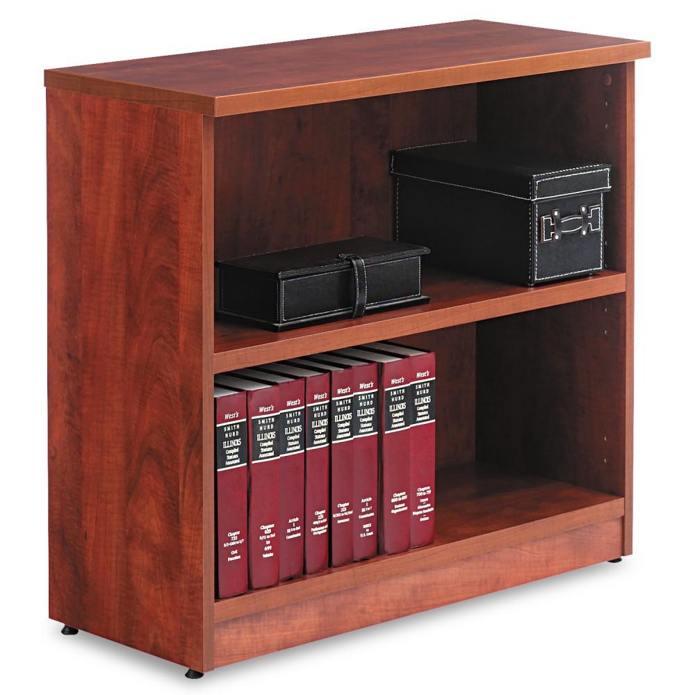 Alera Valencia Series Bookcase, Two-Shelf, 31 3/4w x 14d x 29 1/2h, Med Cherry (Red)
