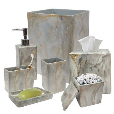 8pc Stone hedge metal Bath Accessory Set for Vanity Counter Tops White - Nu Steel