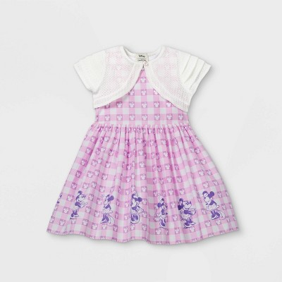 Toddler Girls' Disney Minnie Mouse Gingham Border Sleeveless Woven Dress with Knit Shrug - Purple