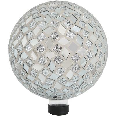 "Mirrored Diamond Mosaic 10"" Gazing Globe Ball - Sunnydaze Decor"