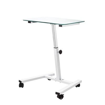 "23.6""  Tempered Glass Adjustable Height Mobile Laptop Desk Cart  - Seville Classics"