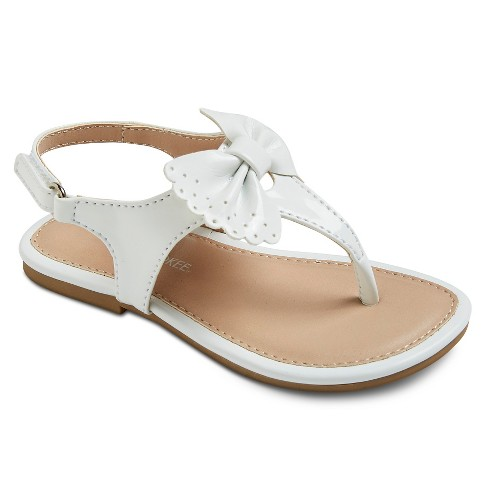 Toddler Girls' Jan Bow Thong Sandals - Cherokee™ - White 5 - image 1 of 3