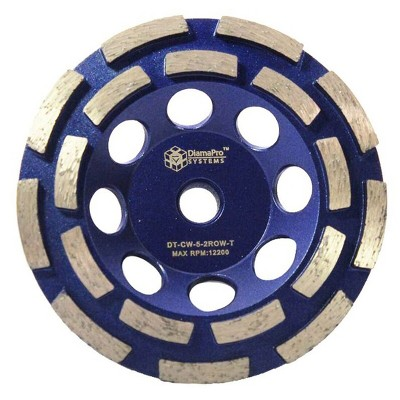 DiamaPro Systems DT-CW-5-2ROW-T Threaded 5 Inch Double Row Diamond Abrasive Concrete Grinding Cup Wheel Tool for Drains, Preparation, Coating Removal