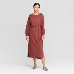 Women's Casual Fit Long Sleeve Boat Neck Midi Shift Dress - Prologue™