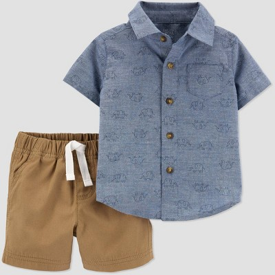 Baby Boys' 2pc Chambray Elephant Top & Bottom Set - Just One You® made by carter's Blue 6M