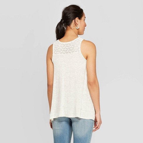 a6ee0743ab2 Women's Sleeveless V-Neck Button Front Tank Top - Knox Rose™ Ivory