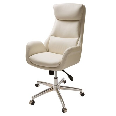 Mid Century Modern Bonded Leather Gaslift Adjustable Swivel Office Chair Cream - Glitzhome