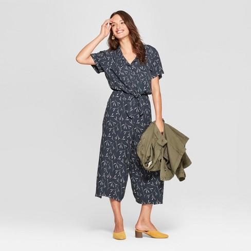 Women's Tie Front Jumpsuit - Universal Thread™ Black Print XS - image 1 of 3