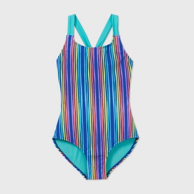Girls' Rainbow Vertical Stripe One Piece Swimsuit - Cat & Jack™