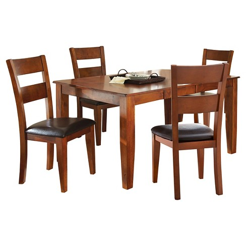 5 Piece Amanda Dining Table Set Wood/Brown - Steve Silver Company - image 1 of 3