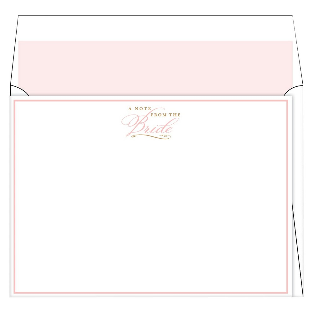 6ct A Note From the Bride Blush Formal Stationery, Light Pink