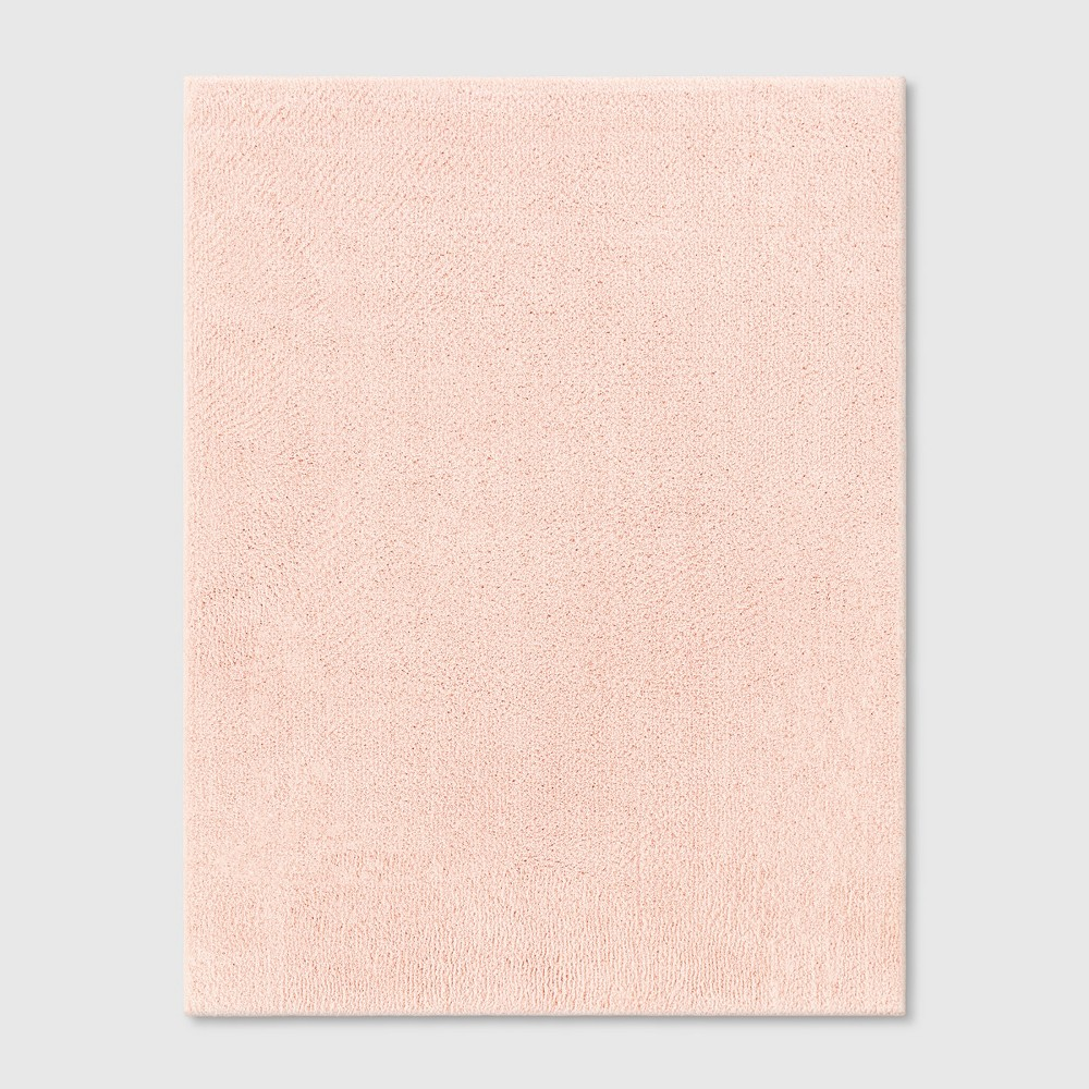 Solid Tufted Micropoly Shag Area Rug Blush