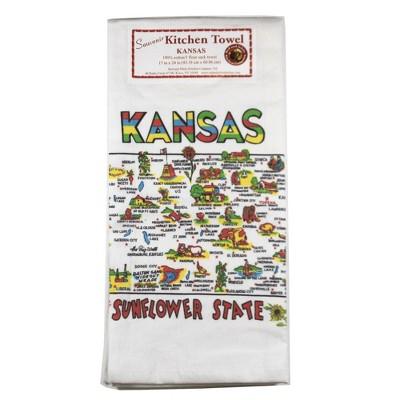 "Tabletop 24.0"" Kansas Flour Sack Towel 100% Cotton Sunflower Retro Red And White Kitchen Company  -  Kitchen Towel"