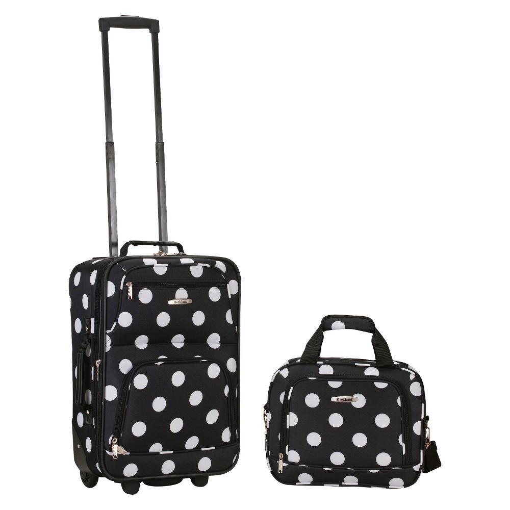 Rockland Rio 2pc Carry On Luggage Set Black Dot